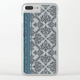 Teal, Aqua & Grey Vintage Bohemian Wallpaper Stripes Clear iPhone Case