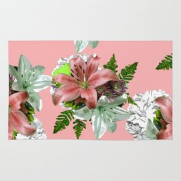 LILY PINK AND WHITE FLOWER Rug