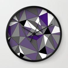 Geo - purple, gray, black and white Wall Clock