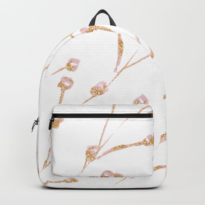 Delicate Blossom Pink + Gold Glitter Backpack