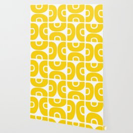 Groovy Mid Century Modern Pattern Yellow Wallpaper