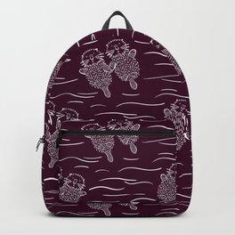 Sea Otters on Dark Raspberry Backpack