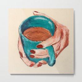 Hands Around A Coffee Mug Original  Metal Print
