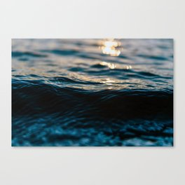 Blue Ocean Waves and Sunset Canvas Print