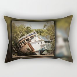Grounded boat in need of some care Rectangular Pillow