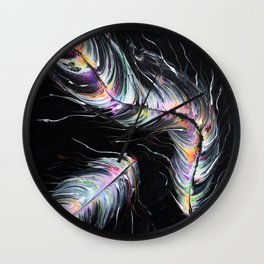 Neon Feathers Wall Clock