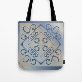 Shalom Mandala - Blue Beige Tote Bag