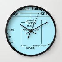 tenenbaum Wall Clocks featuring Tenenbaum Family Tree by Deep Search