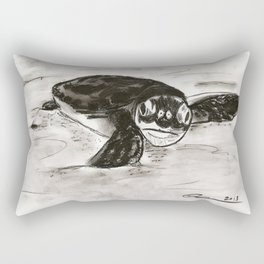 Baby Turtle Hatchling (Charcoal) Rectangular Pillow