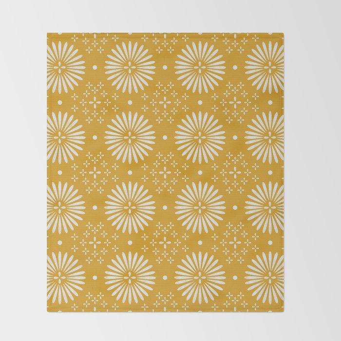 Happy Sunshine - yellow art, sunshine, boho art, bohemian, tile, home decor, yellow, yellow art print Throw Blanket