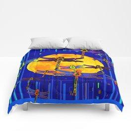 Dragonflies Moon Fantasy Blue Art Abstract Comforters