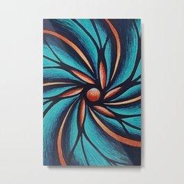 The Ocean Flower Swirl Metal Print