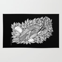 Zentangle Halcyon Black and White Illustration Rug