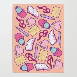 Book Club Pattern in Peach Poster