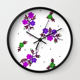 Pink and Purple Flowers in Design Wall Clock