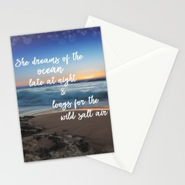 She Dreams of the Ocean Quote Stationery Cards