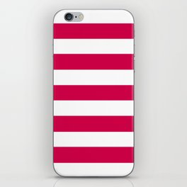 Spanish carmine - solid color - white stripes pattern iPhone Skin