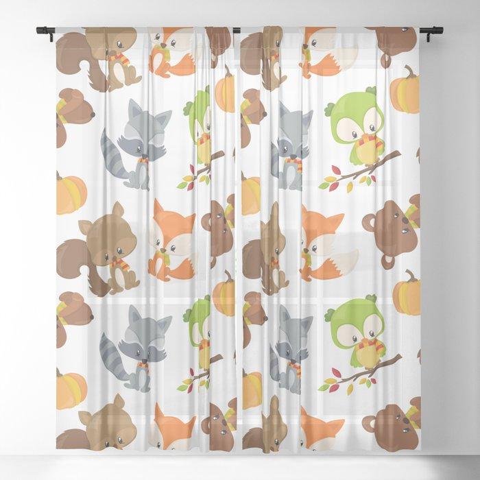 Woodland Animals, Bear, Squirrel, Fox, Owl, Raccoon Sheer Curtain
