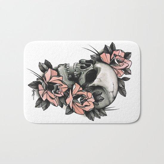 Skull and roses - tattoo Bath Mat