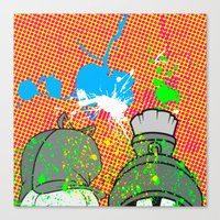 cartoons Canvas Prints featuring Cartoons and Cereal by Kerosene Bill