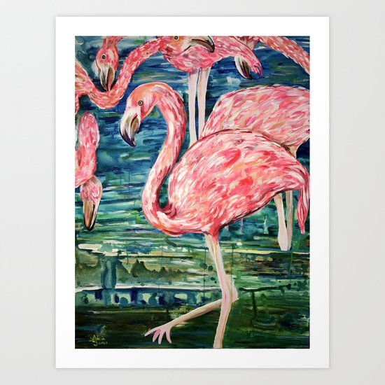 Flamingo Party Pink and Tropical Art Print
