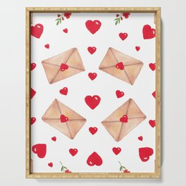Heart, envelopes and red flowers on a white seamless background Serving Tray