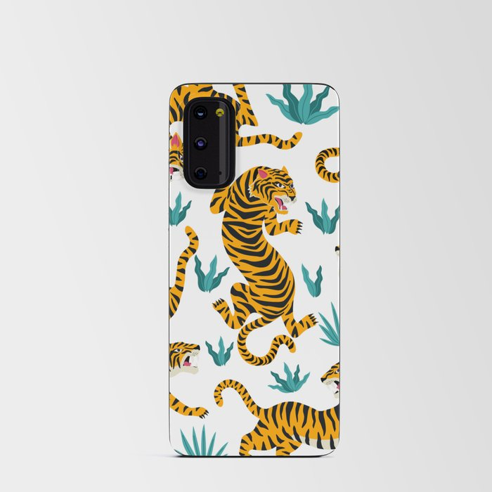 Asian tigers and tropic plants on background. Android Card Case