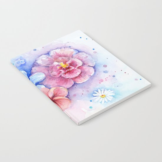 Flowers Watercolor Floral Colorful Rainbow Painting Notebook