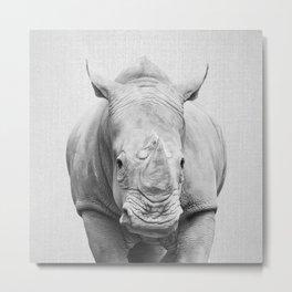 Rhino 2 - Black & White Metal Print