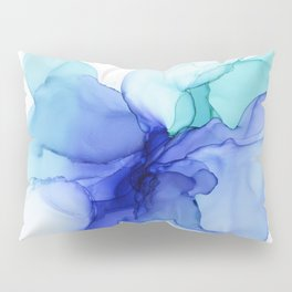 Blue Floral Abstract Ink Pillow Sham