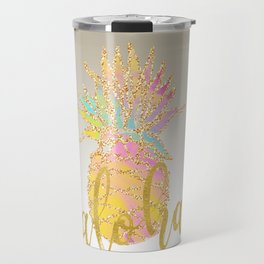 Metallic silver faux gold glitter tropical aloha pastel pineapple Travel Mug