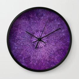 star mandala deep in the dark purple dream Wall Clock