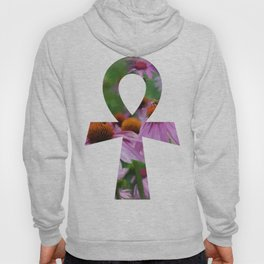 """Life"" - Ankh with Purple Cone Flowers Hoody"