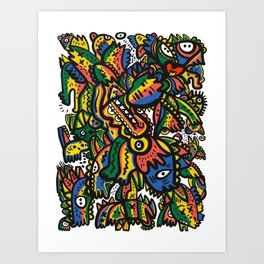 Jamaican Reggae Tribute Graffiti Art Creatures by Emmanuel Signorino  Art Print