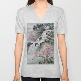 WATERFALLS AND MOUNTAIN LANDSCAPE Unisex V-Neck
