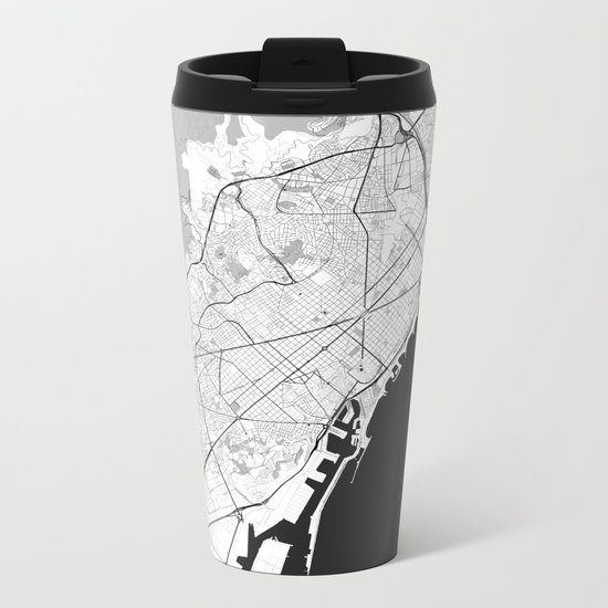 Barcelona Map Gray Metal Travel Mug