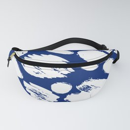 Hand painted navy blue white watercolor brushstrokes Fanny Pack