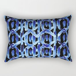"Black and Blue Watercolor Pattern ""Rain Chain"" Rectangular Pillow"