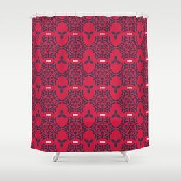 Pink and Gray Trendy Ornamental Damask Seamless Shower Curtain
