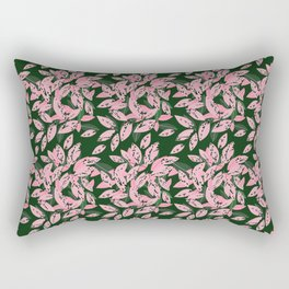 Pink and Green Indoor Plant Print Pattern for Fashion and Home Decoration. Rectangular Pillow