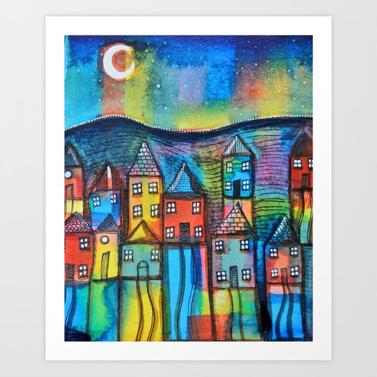 Moonlit Town Art Print