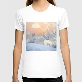 White Poinsettias And Winter Sunset By Annie Zeno T-shirt