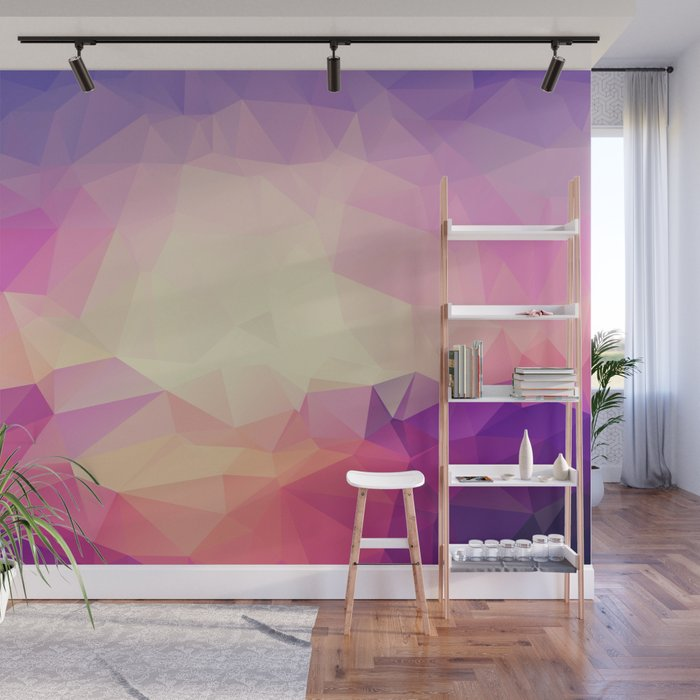 Shining Abstract Polygon Pattern Yellow, Purple, Pink, and Orange Wall Mural