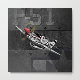 WW-II Warbird P-51 Mustang Airplane Cartoon Metal Print