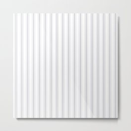Soft Grey Mattress Ticking Wide Striped Pattern - Fall Fashion 2018 Metal Print