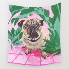 Pug in the Jungle Wall Tapestry