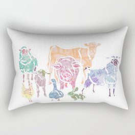 The Colourful Farm Sanctuary Rectangular Pillow