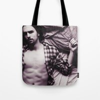 plaid Tote Bags featuring Plaid by Kimball Gray