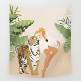The Lady and the Tiger Wall Tapestry