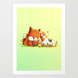 Bookish Fox and Cat Friends Art Print